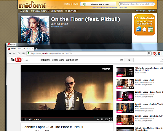 Midomi.com rozpoznaje utwór Jenifer Lopez fet. Pitbull - On The Floor